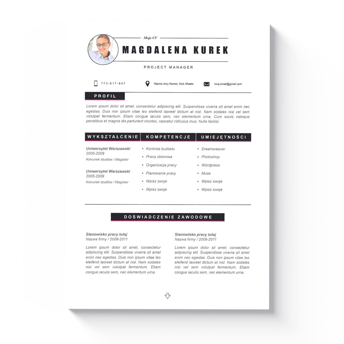 Szablon CV + List Motywacyjny Tucson-1