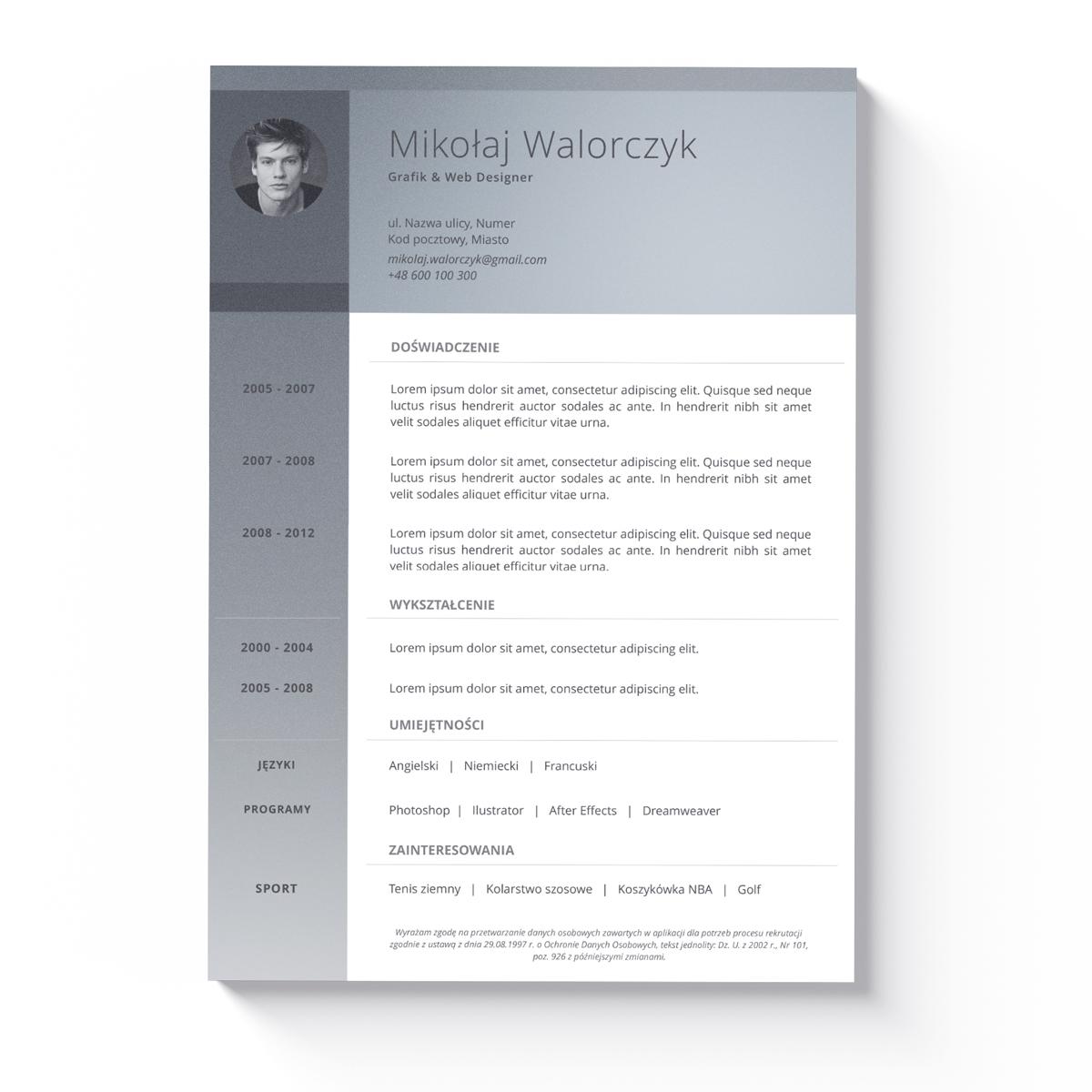 Szablon CV + List Motywacyjny Seattle-1